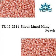 Korálky - T102 TOHO rokajl 11/0 Silver-Lined Milky Peach, 10 g - 2174933