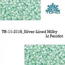 Korálky - T103 TOHO rokajl 11/0 Silver-Lined Milky Lt Peridot, 10 g - 2174937