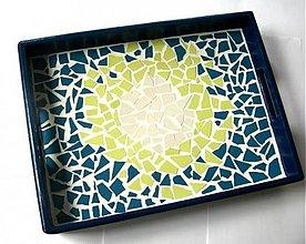 Nádoby - Mozaiková tácka Modrá :o) - 2184942