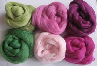 Textil - Vlna na plstenie Merino - ružovozelená 60 g - 2186077