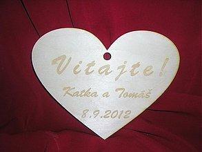 Darčeky pre svadobčanov - Gravirovane srdce na uvítanie - 2187100