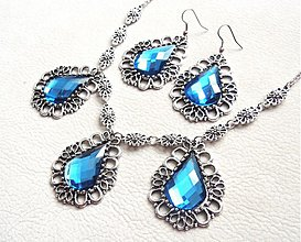 Sady šperkov - modrý kráľovský set - 2191080