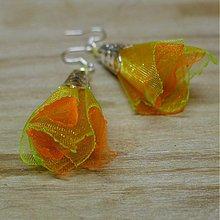 Náušnice - Oranžová a zelená - 2196953