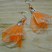 Náušnice - Oranžová a biela - 2196963