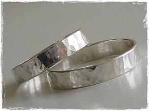 Prstene - strieborná tepaná obrúčka - laaaska - 219968