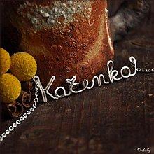 Náhrdelníky - Náhrdelník s menom z postriebreného drôtu: 6-8 písmen (Kačenka) - 2215334