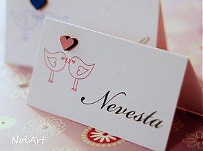 Papiernictvo - Svadobné menovky VTÁČIKY - 2217283