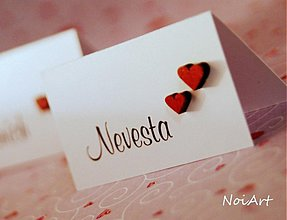 Papiernictvo - Svadobné menovky SRDIEČKA - 2217748