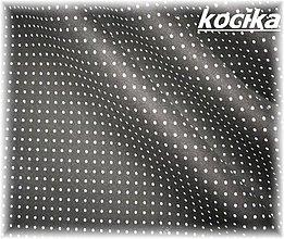 Textil - bavlněná látka-černá + bílé bodky - 2225130