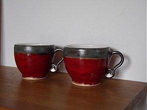 Nádoby - šálka červeno- šedá - 2236686