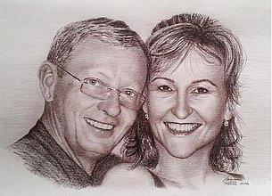 Kresby - kreslený portrét dvoch osôb - 2238944