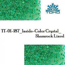 Korálky - 734-T1017 TOHO TREASURE Inside-Color Crystal_Shamrock Lined, 5 g - 2245567
