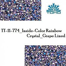 Korálky - 734-T1030 TOHO TREASURE Inside-Color Rainbow Crystal_Grape Lined, 5 g - 2245645