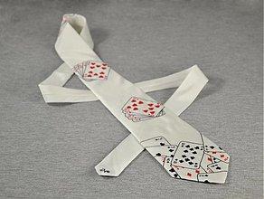 Doplnky - Bílá kravata s kartami - 2245960