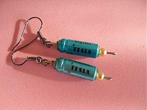 Náušnice - tesla tyrkys perla - 22488