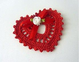 Dekorácie - Dekoračné srdiečko- červené - 2258032