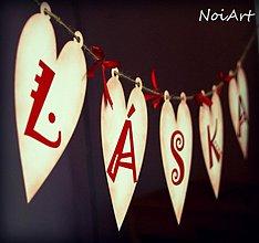 Tabuľky - Girlanda LÁSKA red HEART - 2260832