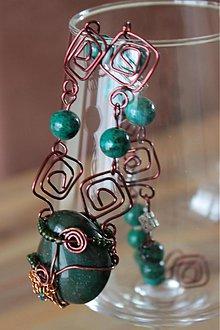 Sady šperkov - Medený šperk s minerálnymi kameňmi - 2265914