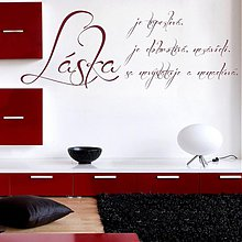 Dekorácie - 3352N nálepka na stenu LÁSKA JE... - 2266180