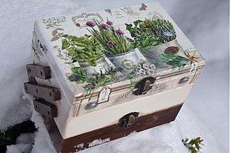 Krabičky - Skrinka na šijacie potreby - Bylinky - 2278780