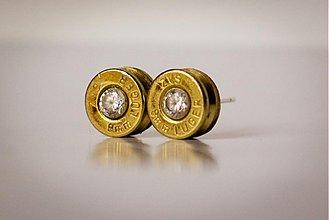 Náušnice - (strelené) Náušnice, puzetové, 9 mm Luger, Zirkón Crystal - 2283771