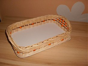 Košíky - Podnos na kávičku s oranžovými korálkami - 2294363