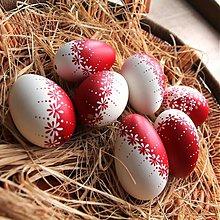 Dekorácie - Červeno-bílé husí kraslice - 2298434