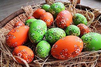 Dekorácie - Husí kraslice - oranžové a zelené - 2300543