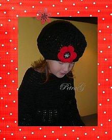 Detské čiapky - Hačkovaná baretka - 230668