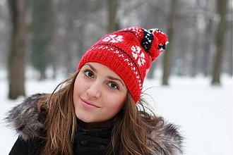 Čiapky, čelenky, klobúky - čiapka červená s nórskym vzorom - 2307730