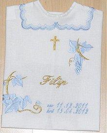 Detské oblečenie - vyšívaná košielka na krst - 2314660