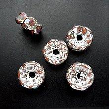 Korálky - Šaton.rondelka-1ks (8mm-wave-strieb/krystal AB) - 2323287