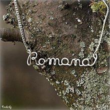 Náhrdelníky - Náhrdelník s menom z postriebreného drôtu: 6-8 písmen (Romana) - 2328664