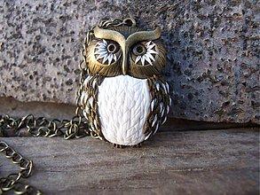 Náhrdelníky - B052 náhrdelník Owl biela - 2339103