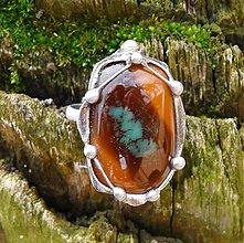 Prstene - Hnedé sklo - prsteň - darček k objednávke - 2339919