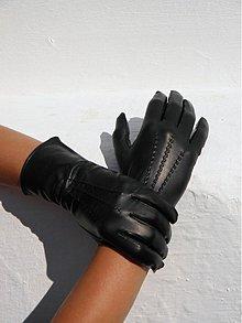 Rukavice - Černé dámské kožené rukavice s vlněnou podšívkou - 2345668