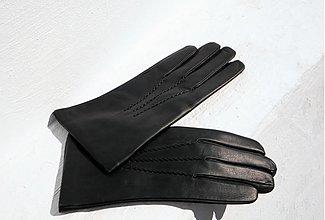 Doplnky - Černé pánské kožené rukavice s vlněnou podšívkou - 2345857