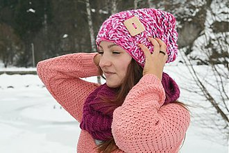 Čiapky - Štrikovaná čiapka Ružová forever - 2348220
