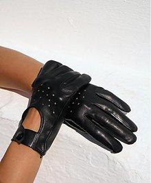 Rukavice - Černé dámské kožené rukavice, šoférky - celoroční - 2358447