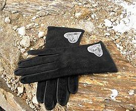 Rukavice - Černé dámské semišové rukavice s hedvábnou podšívkou - 2358841