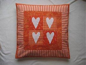 Úžitkový textil - Srdiečkové pohladenie v oranžovom  - 235943