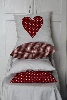 Úžitkový textil - Sada 4 srdiečkové obliečky červeno-biele - 2362794