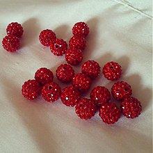 Korálky - shamballa korálky CZ kryštál červené, 10mm, 0.25€/ks - 2375092