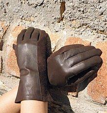 Rukavice - Hnědé  dámské kožené rukavice s hedvábnou podšívkou - celoroční - 2380316