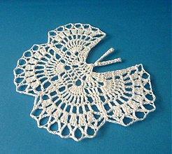 """Dekorácie - Háčkovaná dekorácia """"Motýľ"""" II., biely - 2380474"""