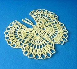 """Dekorácie - Háčkovaná dekorácia """"Motýľ"""" II., svetložltý - 2380510"""