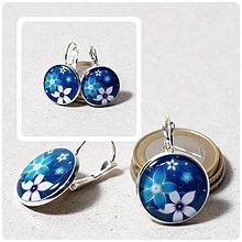 Náušnice - BLUE FLOWER - franc. zapínanie - 2380913