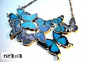 Náhrdelníky - Zbierka modrých motýľov - 2387747
