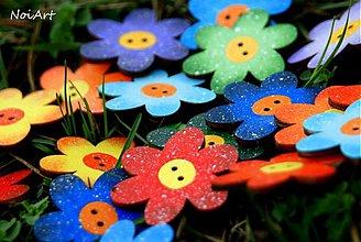 Materiál ručne robený - GOMBÍČKY mnohofarebné kvetované - 2388958