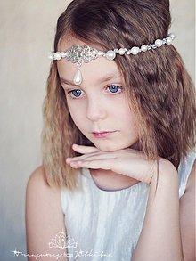 Ozdoby do vlasov - svatební tiara s filigránem - 2389165
